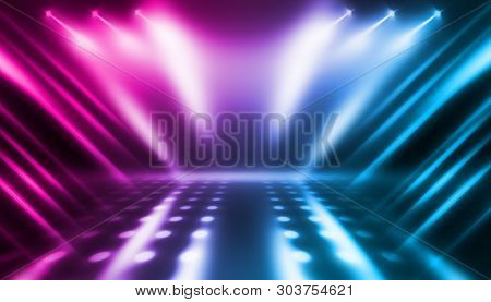 Background Of Empty Stage Show. Neon Blue And Purple Light And Laser Show. Laser Futuristic Shapes O