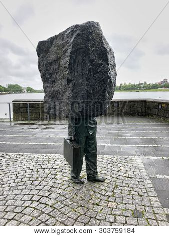 Reykjavik, Iceland - June 30, 2018: Memorial To The Unknown Bureaucrat Created By Magnus Tomasson In