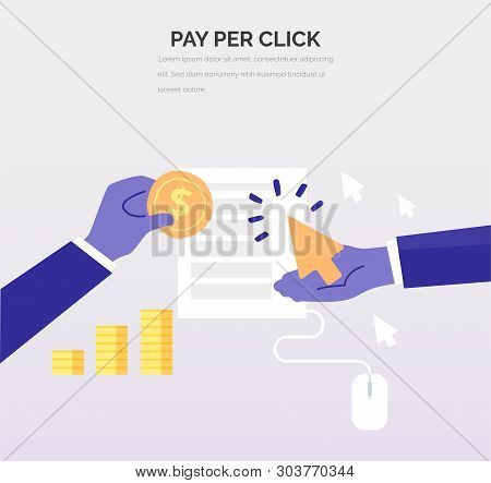 Advertiser Pays A Publisher - Ppc. Creative Business Illustration In Flat Style For Your Design. Pay