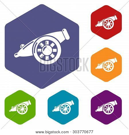 Artillery Cannon Icons Vector Colorful Hexahedron Set Collection Isolated On White