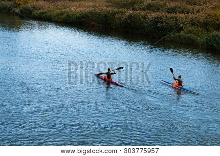 Rostov On Don, Russia, October 06 2018.kayakers Are Racing On The River In A Canoe Marathon,  Outdoo