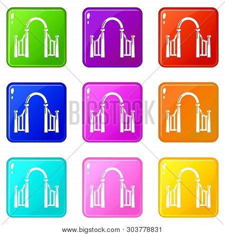 Archway Metal Icons Set 9 Color Collection Isolated On White For Any Design