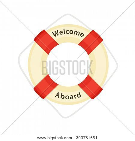 Welcome Aboard - Lifebuoy. Clipart isolated on white background