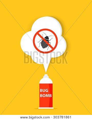 Bug bomb icon. Pest control clipart
