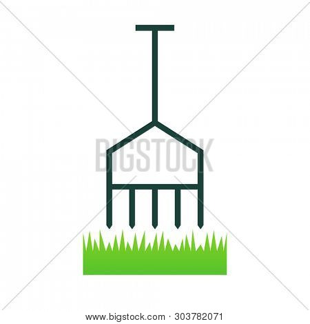 Lawn aerate icon. Lawn care clipart isolated on white background