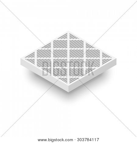 Plated Air Filter isometric icon. Clipart image isolated on white background