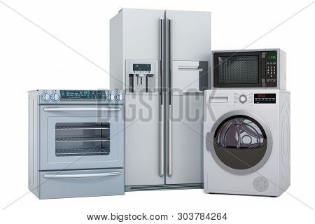 Set Of Silver Kitchen Appliances. Washing Machine, Fridge, Gas Stove, Microwave Oven. 3d Rendering I