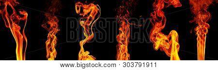 Set flashes flame isolated on black background