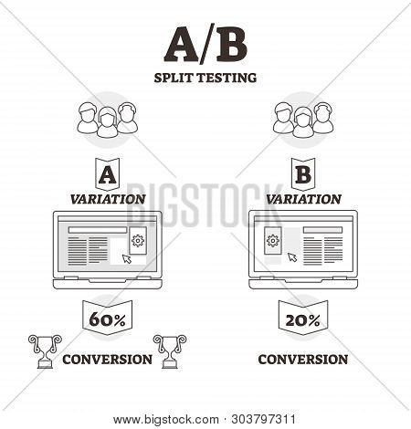 Ab Split Testing Vector Illustration. Bw Outlined Experiment Variants Graphic. Statistics Hypothesis