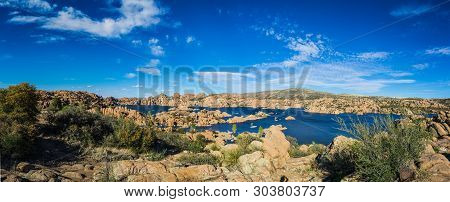 Panorama Of The Rugged Beauty Of Watson Lake In Prescott Arizona.  This Reservoir Is Surrounded Be W