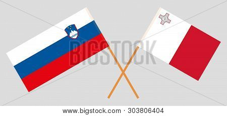 Slovenia And Malta. The Slovenian And Maltese Flags. Official Colors. Correct Proportion. Vector Ill