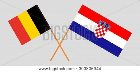Croatia And Belgium. The Croatian And  Belgian Flags. Official Colors. Correct Proportion. Vector Il