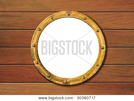 ship porthole on wooden wall isolated