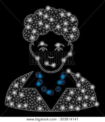Bright Mesh Brunette Woman With Glare Effect. Abstract Illuminated Model Of Brunette Woman Icon. Shi