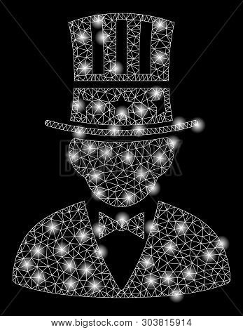 Bright Mesh Capitalist With Glare Effect. Abstract Illuminated Model Of Capitalist Icon. Shiny Wire