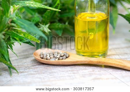 Hemp Oil, Marijuana Oil Bottle, Cannabis Oil Extracts In Jars, Medical Marijuana, Cbd Oil Pipette.