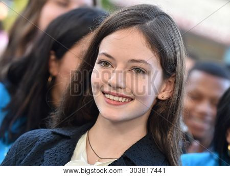 LOS ANGELES - MAY 13:  Mackenzie Foy arrives for the'The Sun Is Also A Star' World Premiere on May 13, 2019 in Los Angeles, CA