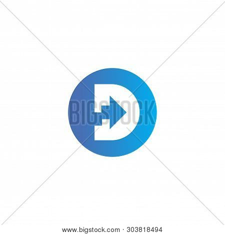 D Letter With Stat Arrow Logo vector element. Logo vector template poster