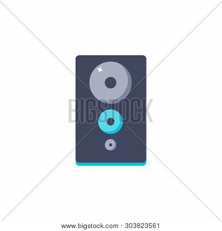 Vector Illustratio. Loudspeaker Icon. Isolated Music Subwoofer In Flat Style