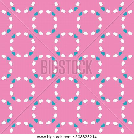 Abstract Dotty Ring Circles. Vector Pattern Seamless Background. Hand Drawn Textured Style. Polka Do