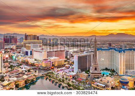 Las Vegas, Nevada, USA skyline over the strip at dusk.