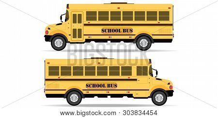 Yellow School Bus Icon Isolated On White Background. Side View School Bus. Back To School Vector Ill