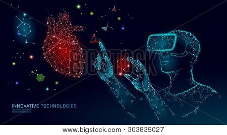 Science Cardiology Operation Research Concept. Vr Headset Holographic Projection Virtual Reality Gla