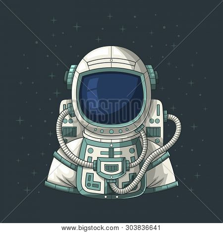 Astronaut Or Cosmonaut In Space, Hand Drawn Vector Illustration.