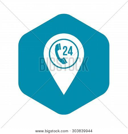 Map Pointer With Phone Handset Sign Icon. Simple Illustration Of Map Pointer With Phone Handset Vect