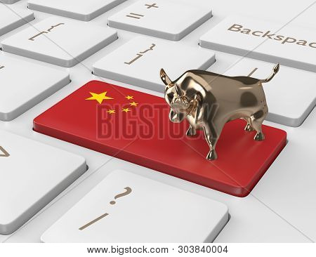 3d Render Of Computer Keyboard With China Flag Key And Bull. Chinese Stock Exchange Increase Concept