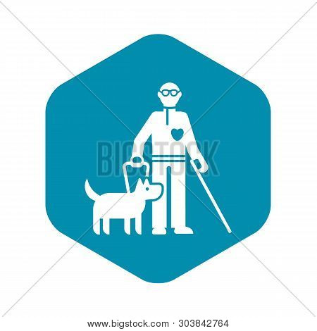 Invalid Person With Dog Icon. Simple Illustration Of Invalid Person With Dog Vector Icon For Web Des