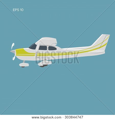 Small Private Plane Vector Illustration. Single Engine Propelled Aircraft. Vector Illustration. Icon