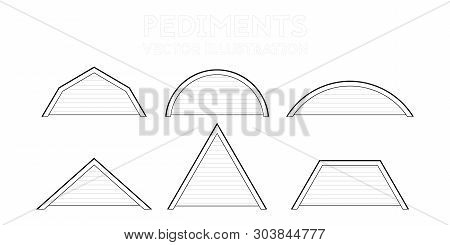 A Set Of Drawings Of The Pediments. Vector Illustration. The Structure Of The Building.