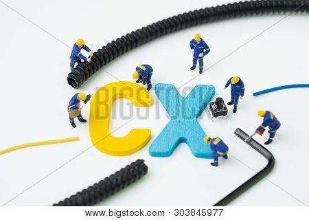 Cx, Customer Experience Concept, Miniature Figure Worker Building Alphabet Cx At The Center, Importa