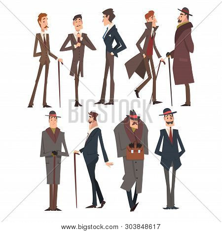 Self Confident Victorian Gentlemen Characters Set, Rich And Successful Men In Elegant Suits Vector I