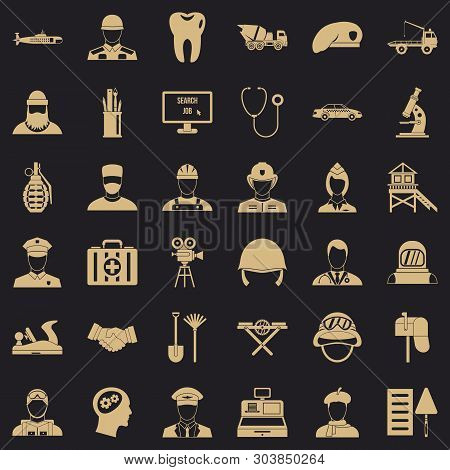 Employment Icons Set. Simple Style Of 36 Employment Vector Icons For Web For Any Design