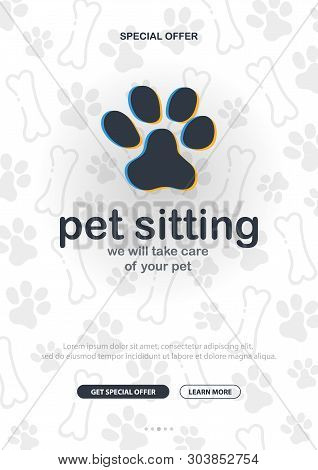 Pet Sitting. Home Animals. Banner With Cat Or Dog Paws. Hand Draw Doodle Background.