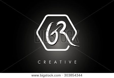 Gr G R Brushed Vector Letter Logo Design With Creative Modern Brush Lettering Texture And Hexagonal