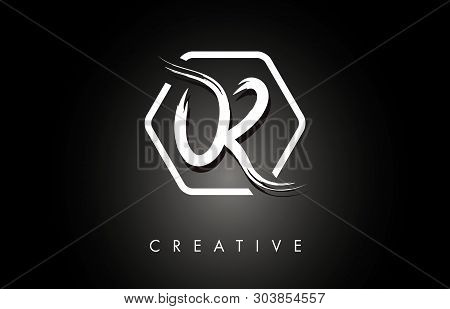 Or O R Brushed Vector Letter Logo Design With Creative Modern Brush Lettering Texture And Hexagonal