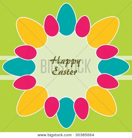 Easter Theme. Circle Of Colored Easter Eggs