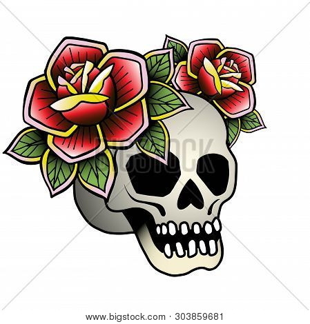 Tattoo Skull With Red Rose. Vector Illustration Old School Tattoo Line Art. Suitable For Printing Tr