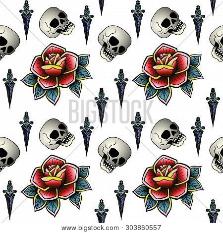 Old School Retro Vintage Doodle Tattoo Seamless Pattern.rose, Skull. Knife.continuous Openwork Emble