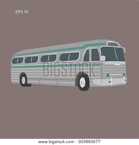 Old Vintage American Bus Vector Illustration. Retro Passenger Vehicle