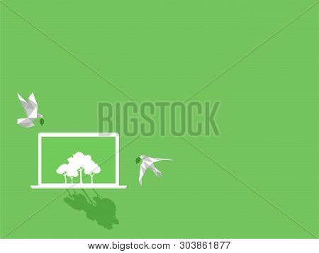White Paper Bird With Green Leaf Fly To White Notebook Device Gadgets White Trees On Green Display P