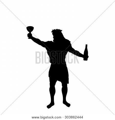 Dionysus Bacchus God Wine Silhouette Ancient Mythology Fantasy. Vector Illustration.