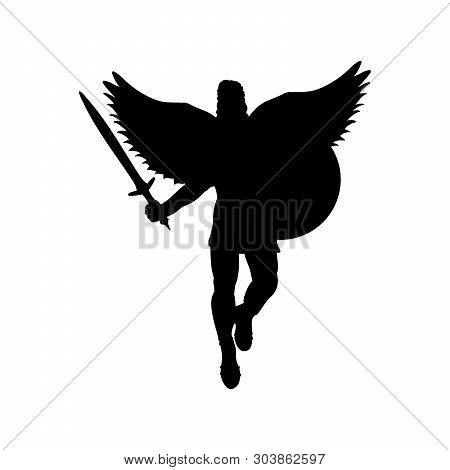 Ares God War Wings Silhouette Ancient Mythology Fantasy. Vector Illustration.
