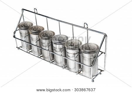 Metal Spice Containers Isolated On White Background