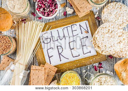 Healthy Eating, Dieting, Balanced Food Concept. Assortment Of Gluten Free Food - Beans, Flour, Almon