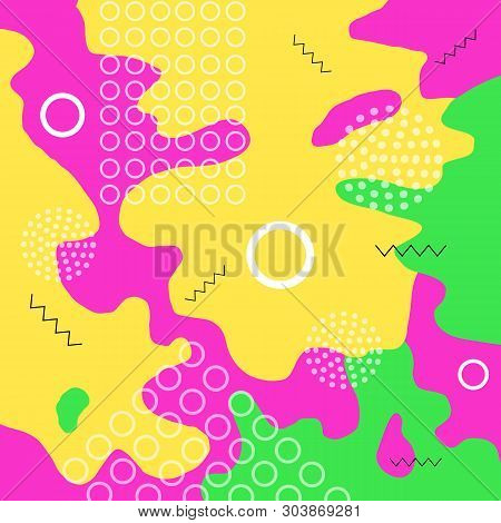 Color Abstract Background. Colorful Spotty Pattern Of Geometric Shape, Line And Dot. Children Playgr