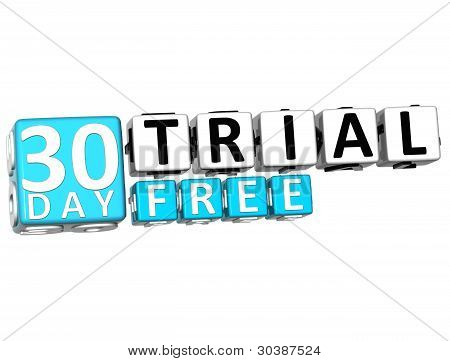 3D Get 30 Day Trail Free Block Letters